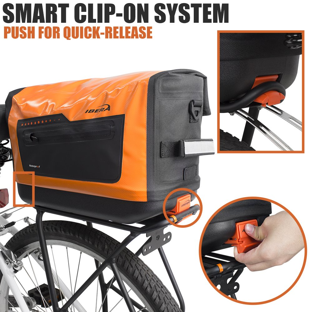 Bike Trunk Bag PakRak Clip-On Quick-Release Waterproof Bicycle Commuter Bag /…