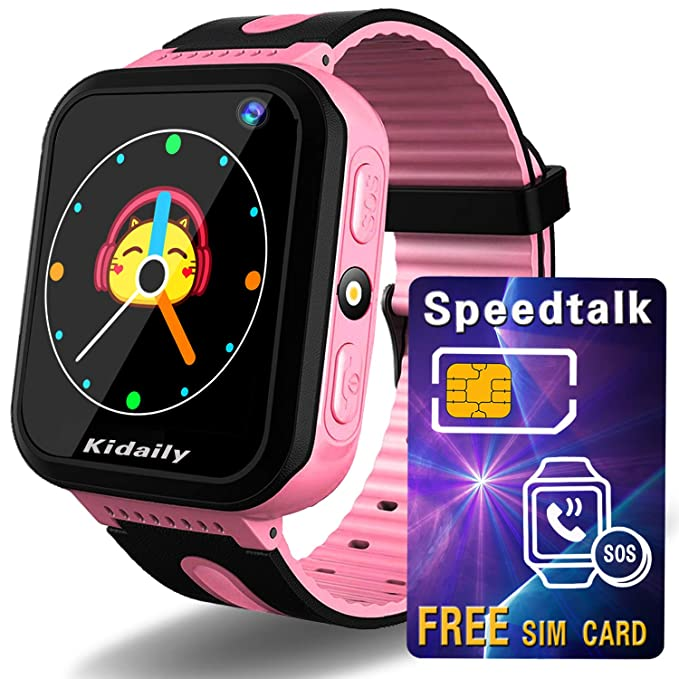 00c6648e418 Kidaily Kids Smart Watch GPS Tracker   SIM Card Included   - Phone Watch  for Girls Boys - Childrens Smartwatch with GPS LBS SOS Call Camera Alarm  Clock ...