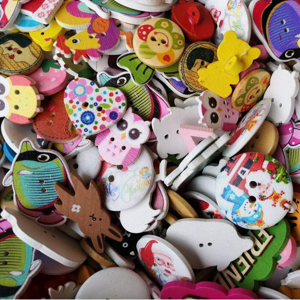 Chenkou Craft Boutons en bois pour couture Assorted coloris assortis