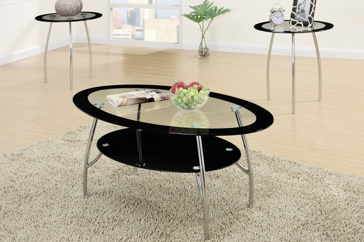 3-piece Modern Style Glass Coffee Table End Table Se