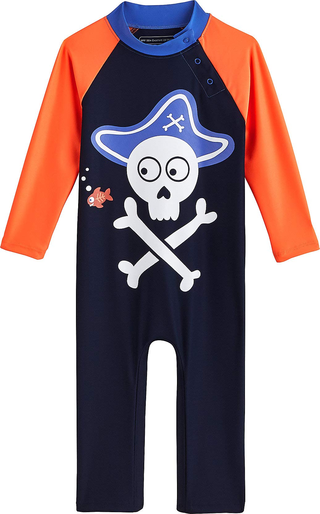 Coolibar UPF 50+ Baby Beach One-Piece Swimsuit - Sun Protective (6-12 Months- Navy Pirate) by Coolibar