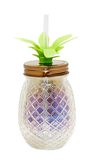 Amazon.com   Slant Collections 16 Ounce Glass Pineapple Sipper Clear  Pineapple Tumbler With Straw and Lid Mason Jar   Everything Else 96dc835ae1
