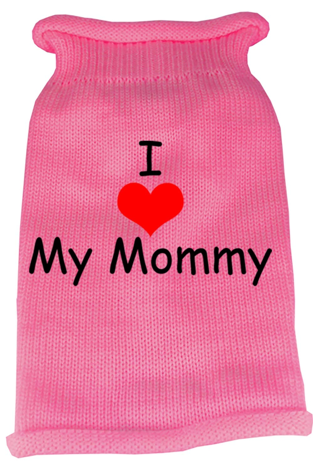 Mirage Pet Products I Heart Mommy Screen Print Knit Pet Sweater, X-Small, Pink