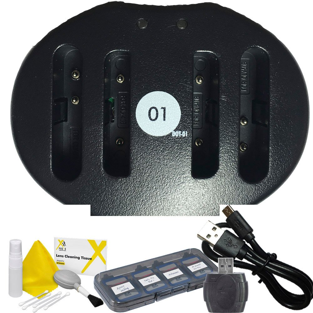 DOT-01 Replacement Dual Slot USB Charger for Pentax D-Li92 and Pentax WG-20, WG-10, WG-4, WG-3, WG-2, WG-1, WG-30 Digital Camera and Pentax DLI92 Accessory Bundle