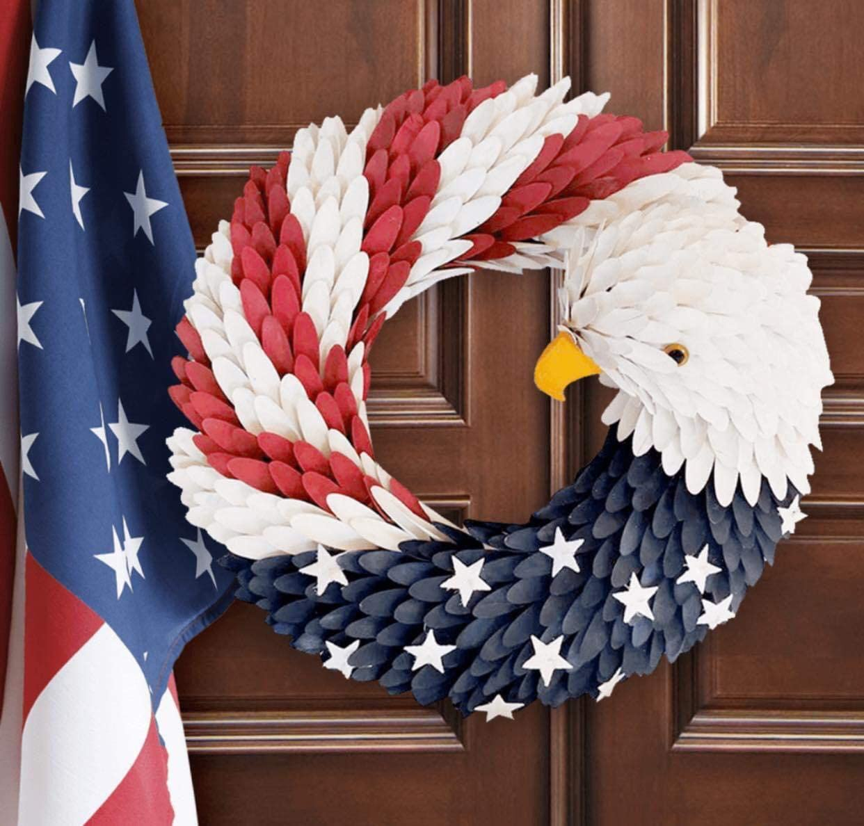 American Eagle Wreath for Door - Patriotic Flag Garland, Handcrafted Plastic Hanging Bald Wreaths Decor for Home Wall Door on Independence Day 4th of July, USA Memorial Labor Day Round 13 inch (Eagle)