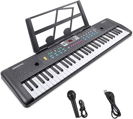 Teclado Electrónico Piano 61 Teclas,Teclado de Piano Portátil con Atril, Micrófono, Fuente de Alimentación, Música Digital, Teclado de Piano (negro)