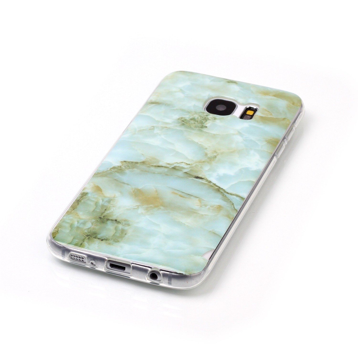 Cover Galaxy S7 Edge,Custodia Galaxy S7 Edge,Lucido marmo texture pattern TPU morbida Custodia in Silicone marmo per Gal Super Sottile Bumper Case Custodia Cover per Galaxy S7 Edge,Bianco/ nero Marble