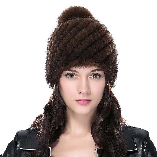 206507ac40803 URSFUR Women s Knit Mink Beanie with Fox Pom Pom Coffee at Amazon ...