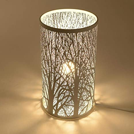 Lámpara de mesa hueca tallada lámpara de mesa de hierro ...