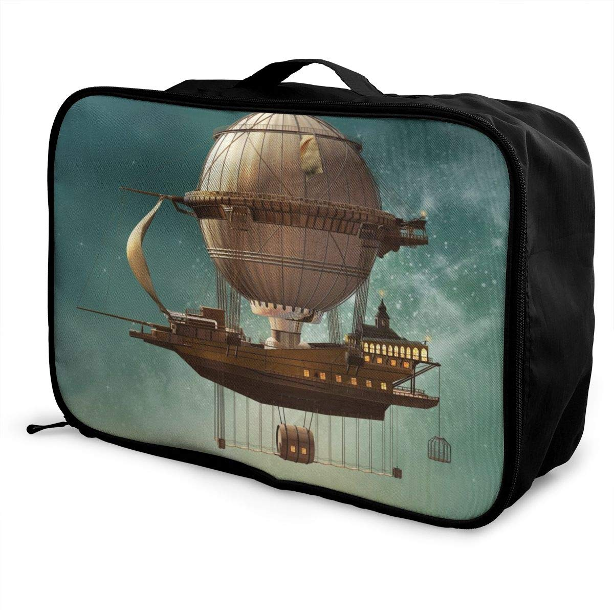 Surreal Sky Scenery With Steampunk Airship Travel Lightweight Waterproof Foldable Storage Portable Luggage Duffle Tote Bag Large Capacity In Trolley Handle Bags 6x11x15 Inch