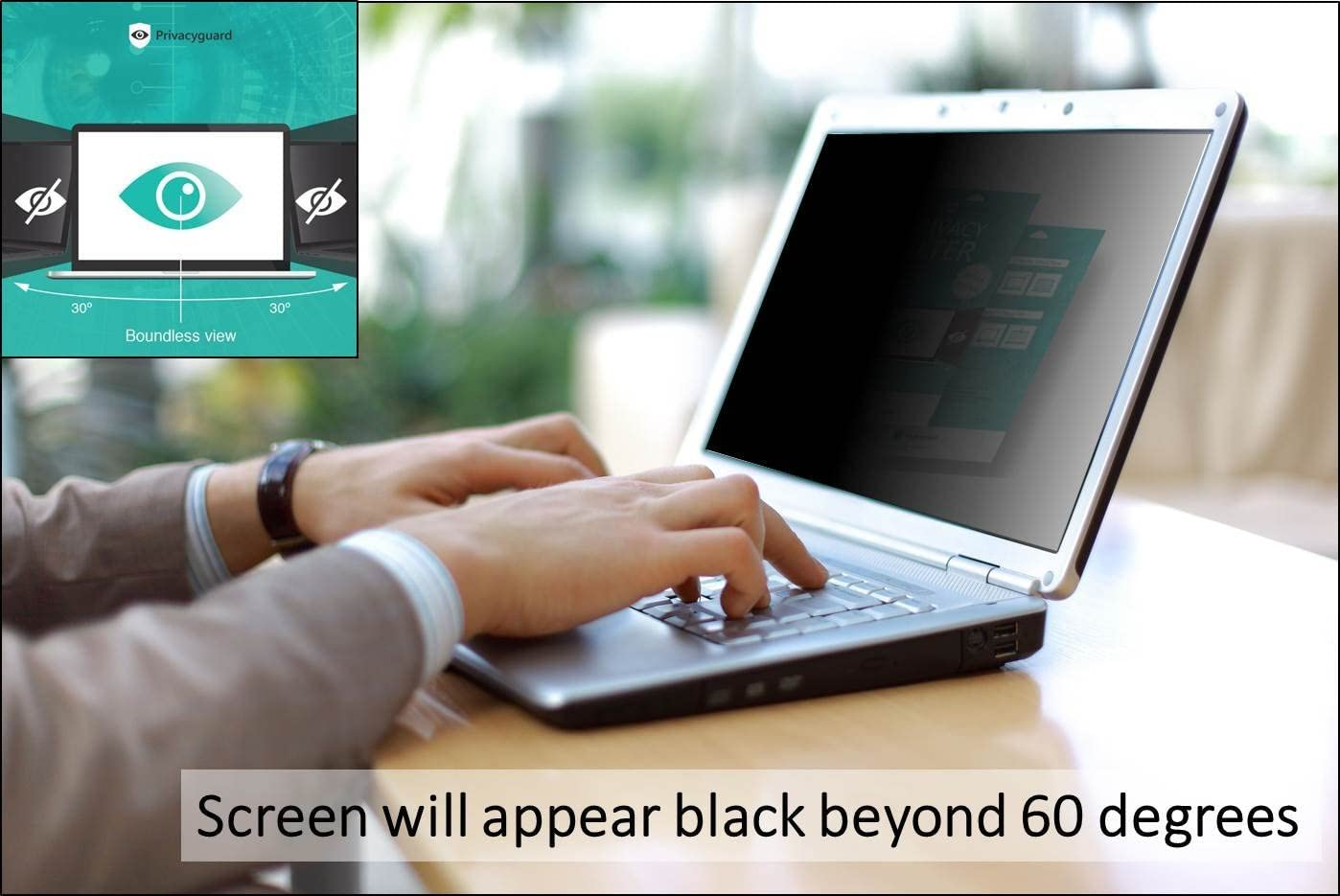 15.6 inch // 16:9 widescreen // 60 degrees Black  12,5 various sizes:12.5-14 Privacyguard eye protection film filter privacy for laptop notebook monitor