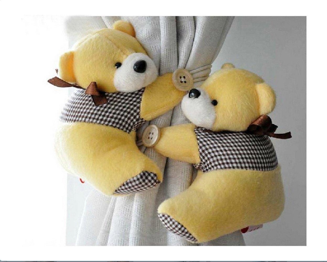 Honeya Free shiping A Pair of Kid Child Infant Nursery Bedroom Livingroom Curtain Tieback Animal Cute Cartoon Teddy Bear Decorative Window Curtain Hooks Clip Clasps Toy CH001