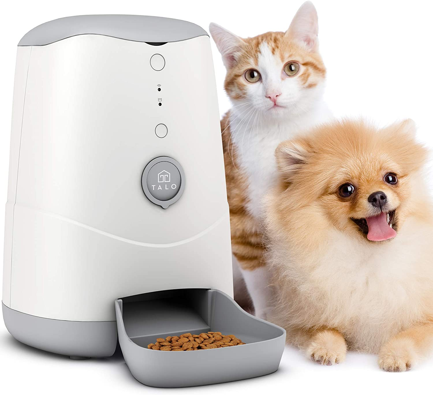 Talo Automatic Wi-Fi Pet Feeder 3.7L - Smart Cat Feeder - Dog Feeder with App Control - Food Dispenser with Timer - 130oz – White