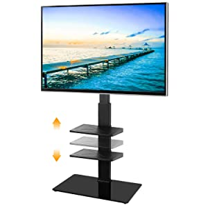 5Rcom Swivel Floor TV Stand with 3 Shelves TV Stand Mount for Most 32 37 42 47 50 55 60 65 inches Plasma LCD LED OLED Flat Screen or Curved TVs,Cable Management and Height Adjustable, Black TF2005