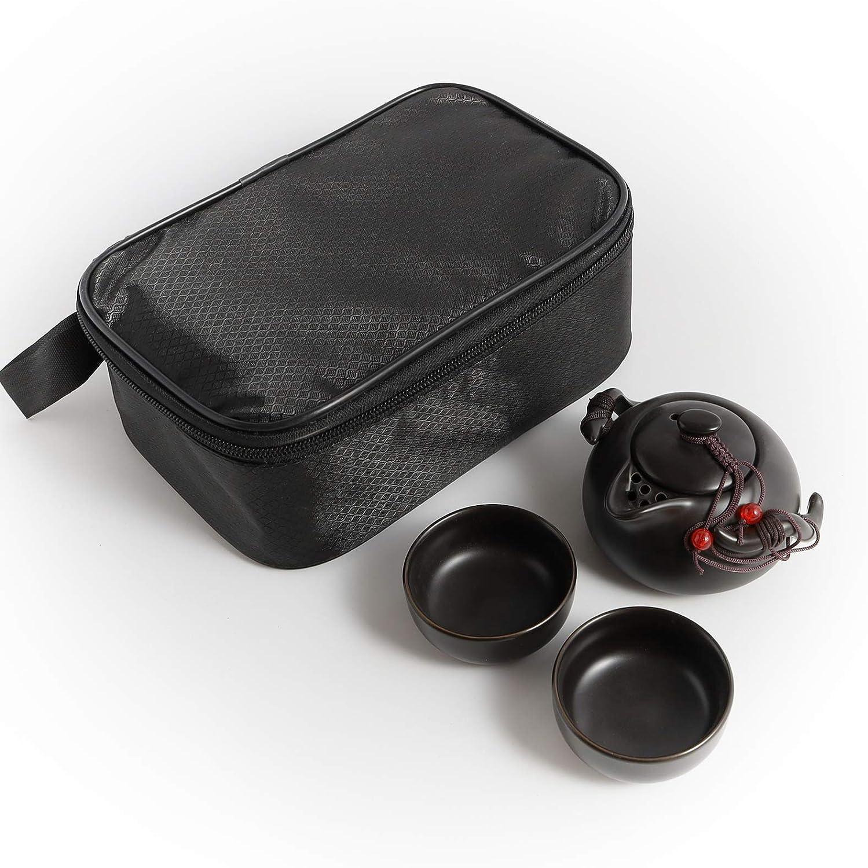 Portable Travel Tea Set - 100% Handmade Chinese/Japanese Vintage Kungfu Tea Set - Porcelain Teapot & Teacups with a Portable Travel Bag (Black)