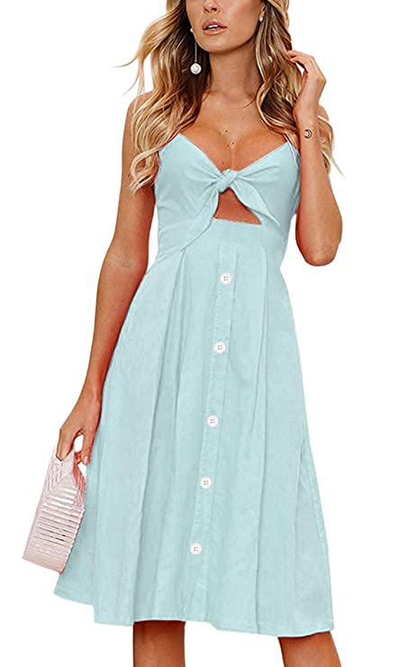 ECOWISH Womens Dresses Summer Tie Front V-Neck Spaghetti Strap Button Down A-Line Backless Swing Midi Dress 1603 Light Green S
