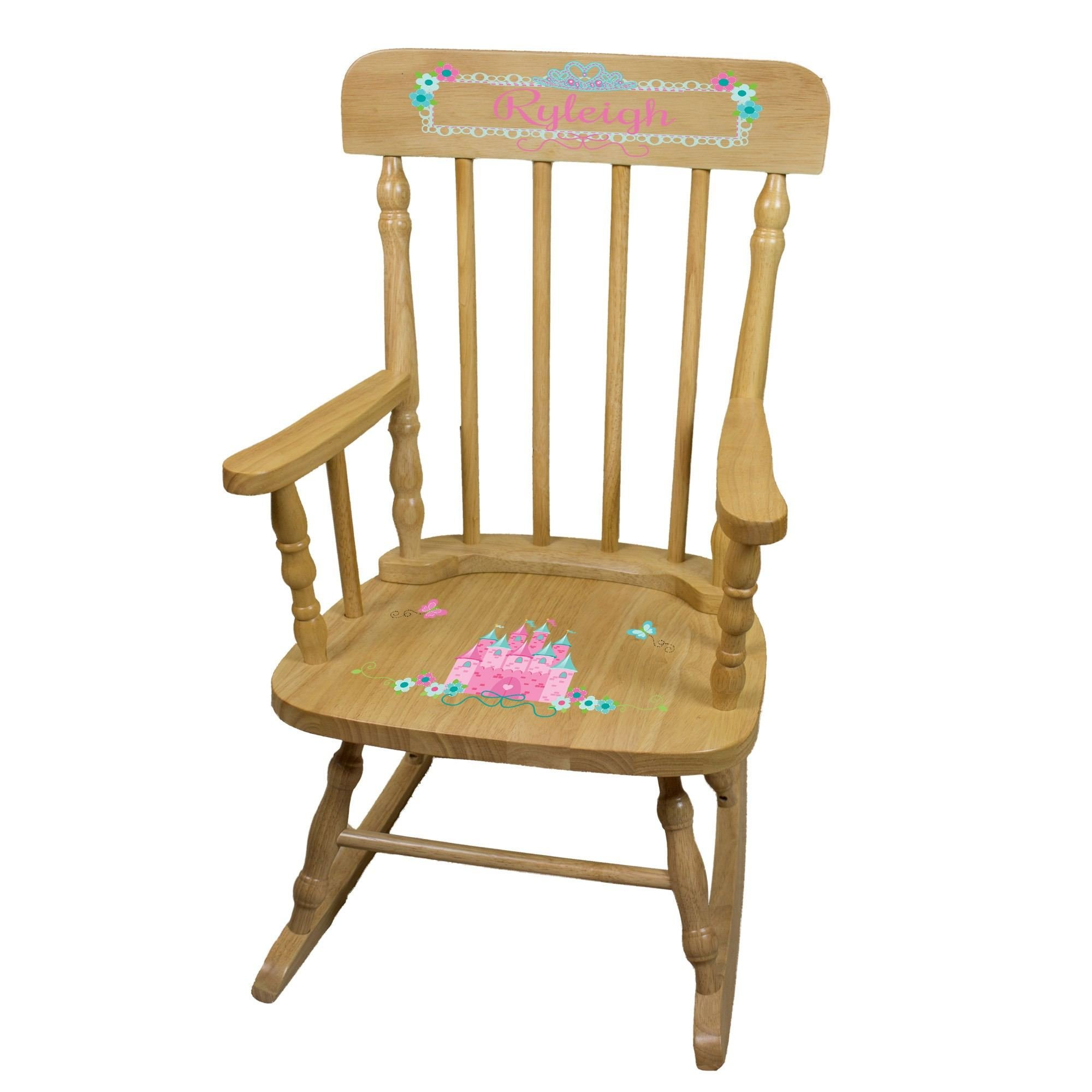 MyBambino Personalized Pink Teal Princess Castle Natural Wooden Childrens Rocking Chair