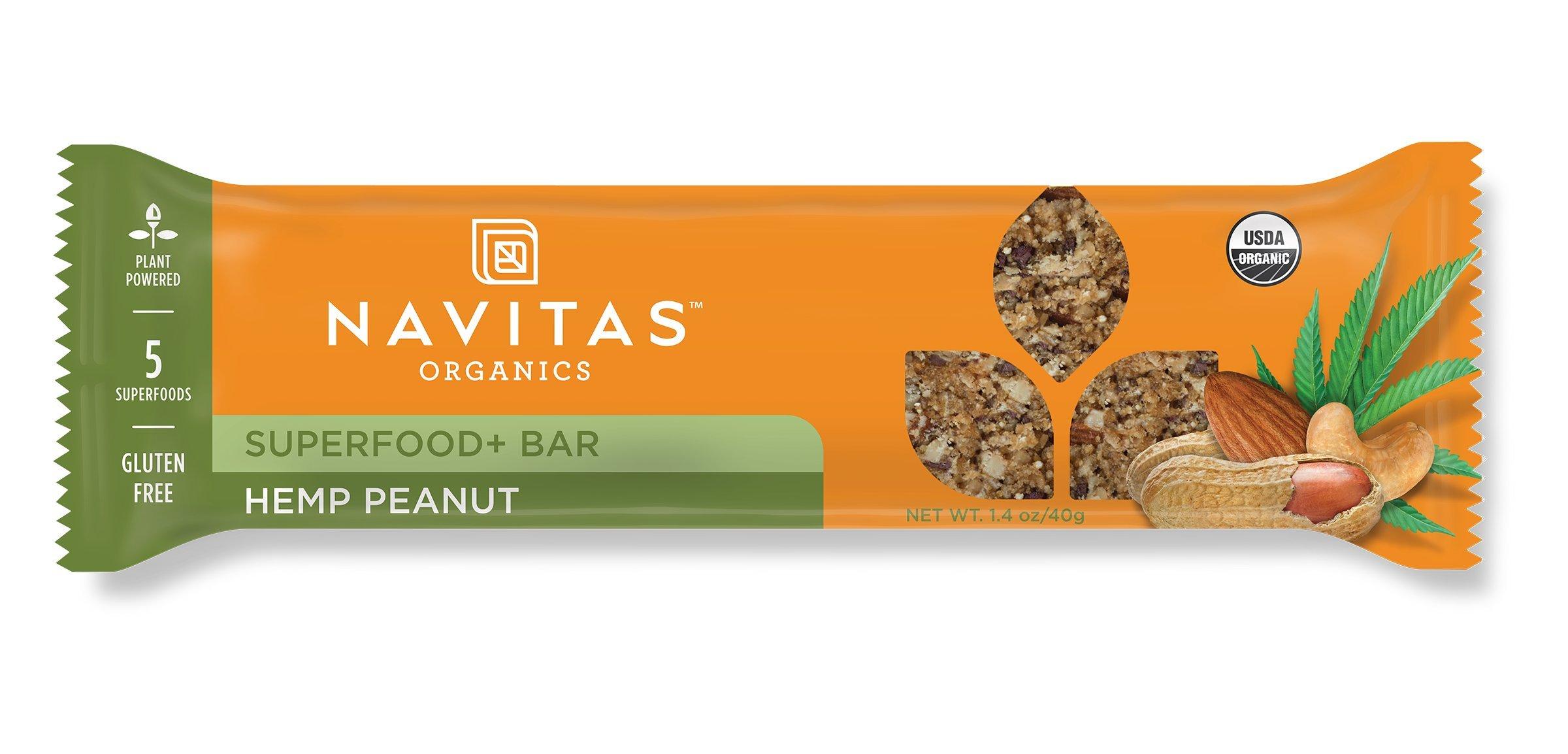 Navitas Organics, Gluten Free Superfood Snack Bar, Hemp Peanut, 12 Count