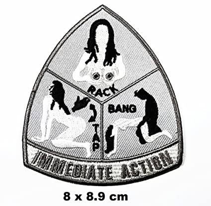Amazon.com  IMMEDIATE ACTION RACK BANG TAP words funny patch Iron on ... f9d29de0430