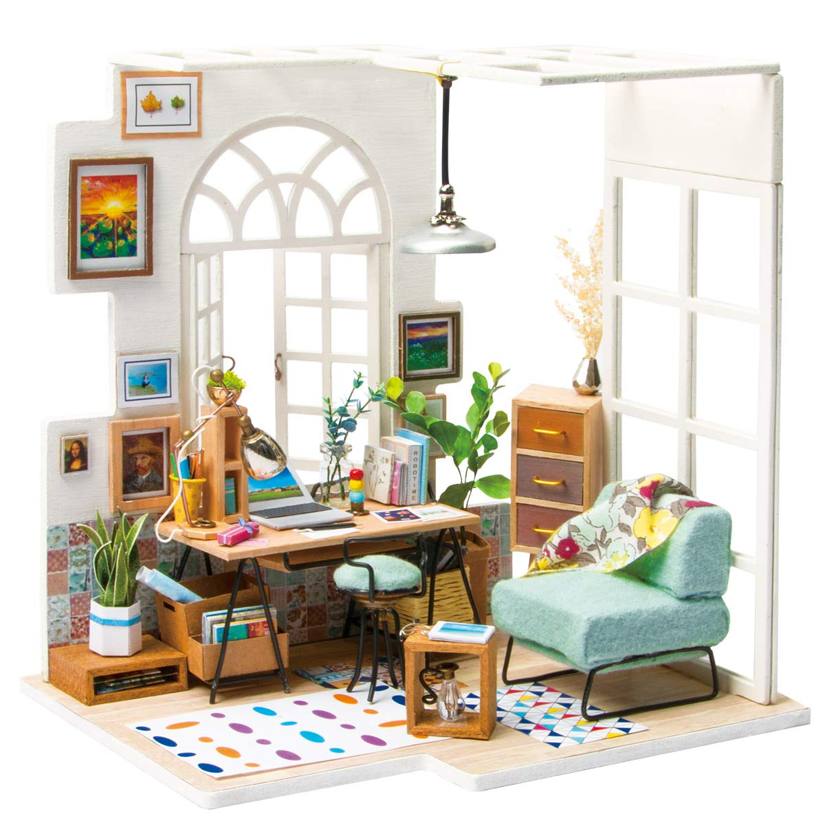 Rolife DIY Wooden Miniature Dollhouse Kit with Led Light-Mini House Woodcraft Construction Kit-3d Wooden Puzzle-Model Building Sets-Perfect Birthday for Boys and Girls (Office) by Rolife