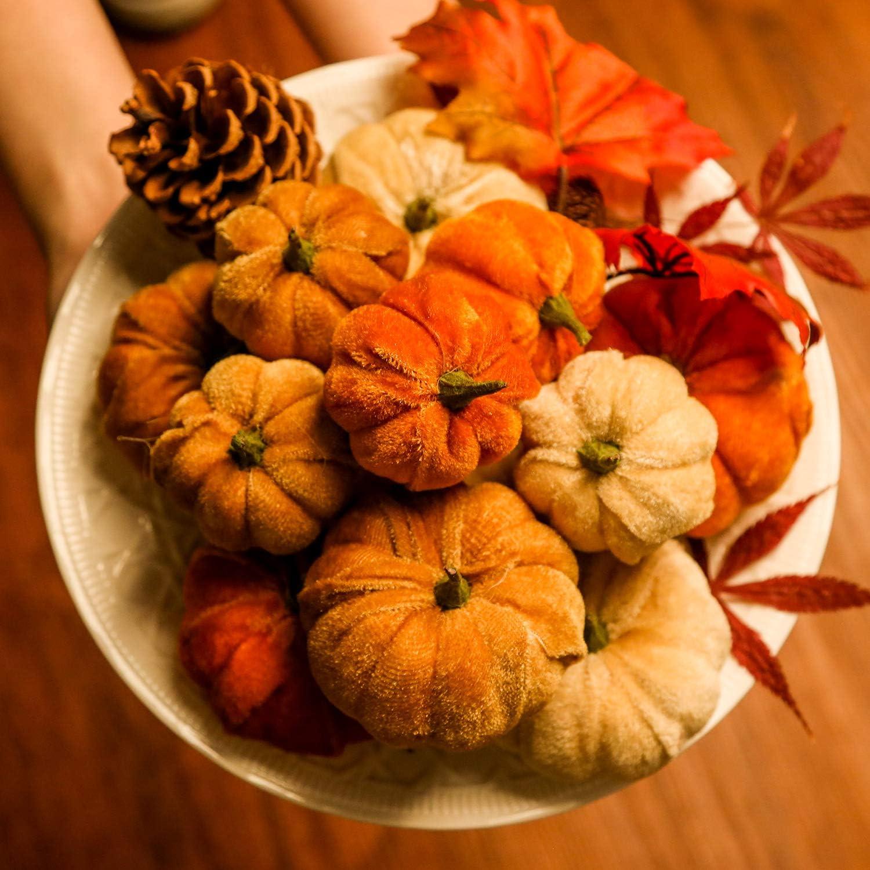 12Pcs Weihnachten Künstlich Weiß Kürbisse Ernte Herbst Erntedankfest Craft Deko