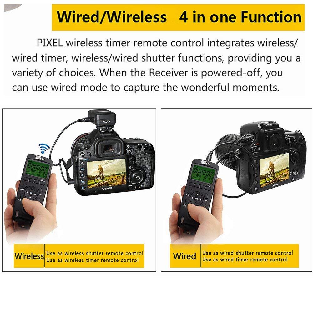 versione aggiornata di TW283 Pixel 2PCS Wireless Shutter Trasmettitore Timer Trasmettitore Telecomando 2.4GHZ per Nikon D800 D700 D300 D2S D800 D7500 D4 D7100 D5000 D3200 D750