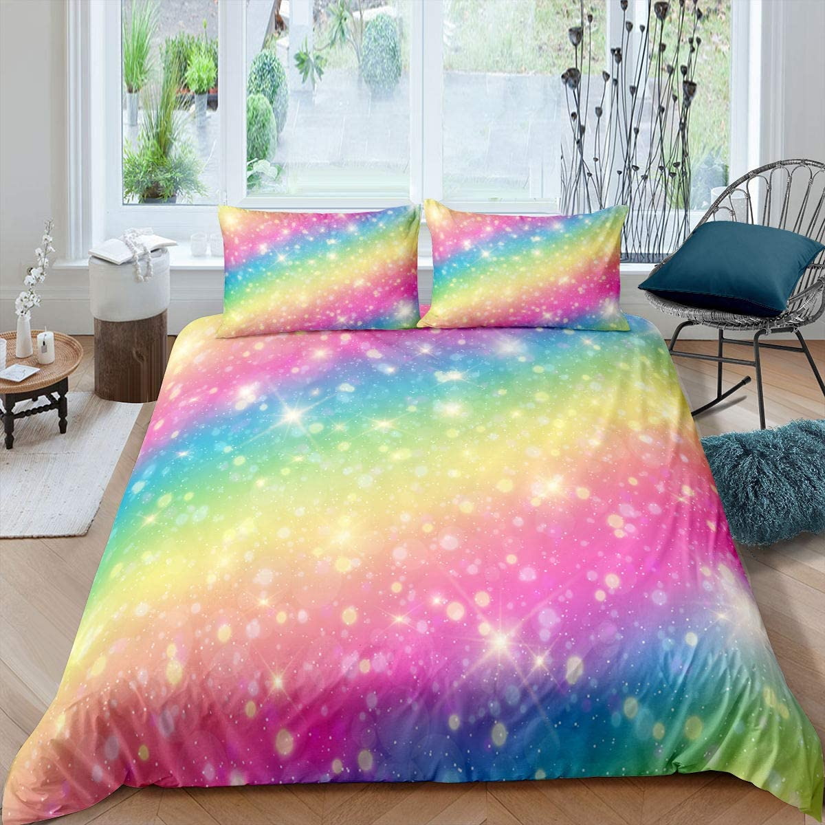 Rainbow Color Comforter Cover Set Girls Kids Cut Direct sale of Year-end gift manufacturer Decor Blingling