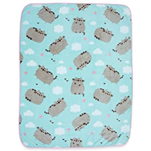 Pusheen The Cat Soft Fleece Blanket - Officially licensed Pusheen Colorful Throw Featuring Pusheen, Clouds & Hearts!