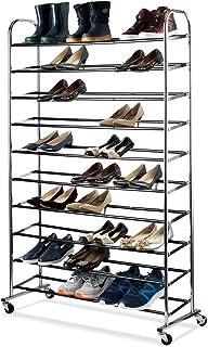 shoe organizer - Chrome shoe storage Supreme 50 Pair Shoe Rack closet shoe organizer  sc 1 st  Amazon.com & Amazon.com: Tangkula 10-Tier 50 Pairs Shoe Tower Rolling Shoe Rack ...