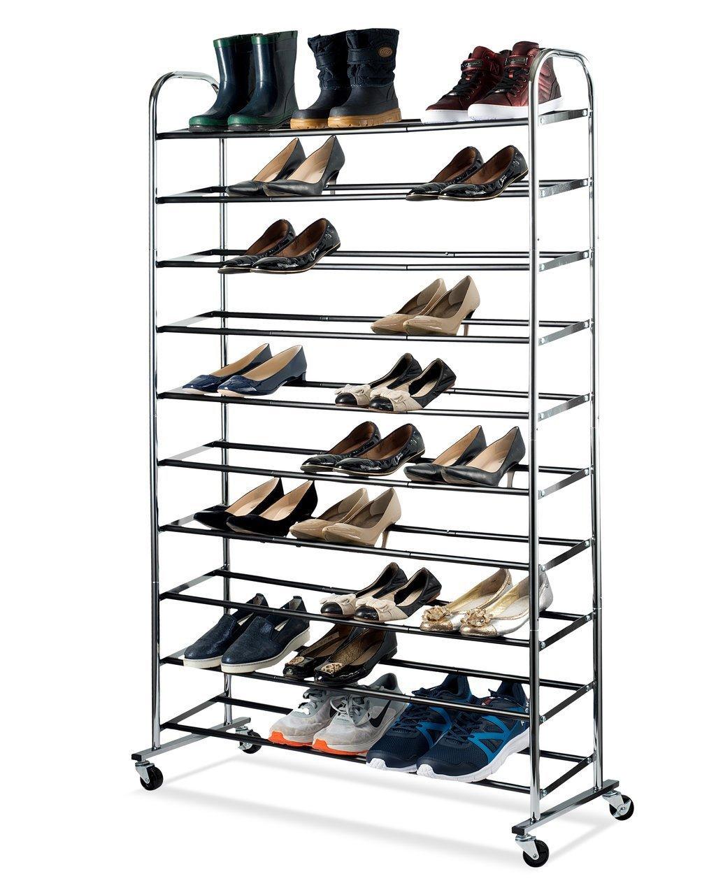 Shoe Organizer - Chrome Shoe Storage Supreme 50 Pair Shoe Rack Closet Shoe Organizer sagler
