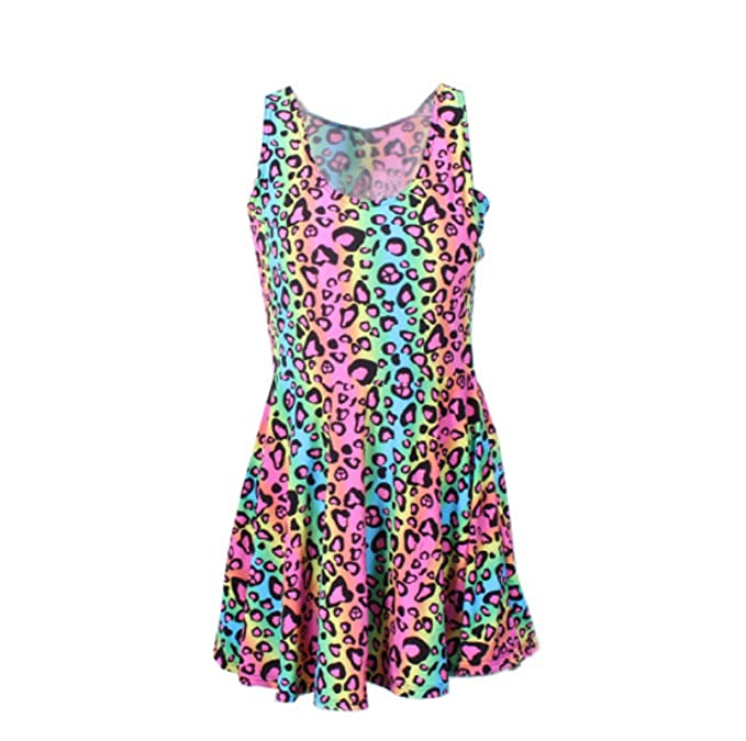 f63cb0ac96 Amazon.com  Neon Rainbow Leopard Cheetah Print Knee Length Mini Dress Rave  Party Fun  Clothing