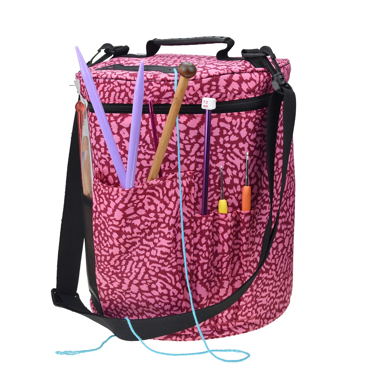 Large Capacity/Portable/Lightweight Yarn Storage Knitting Tote Organizer Bag with Shoulder Strap Handles Looen Yarn Containers W/Pockets for Crochet Hooks & Knitting Needles (Leopard, 12.7X10.8