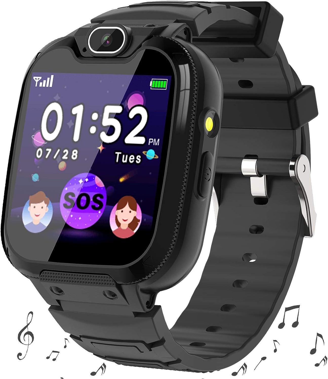 Smartwatch Niños -MP3 Música 14 Juegos Niños Reloj Inteligente llamada Chat de Voz SOS linterna Cámara Vídeo Digital Pantalla Táctil HD Deporte Reloj de Pulsera Digital Para Niños De 4-12 Años (Negro)