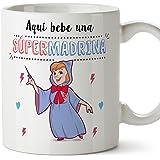 Mugffins Tazas para Madrinas – AQUÍ Bebe UNA Super Madrina – Taza Desayuno 350 ML Idea