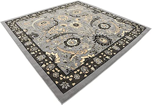 Unique Loom Espahan Collection Classic Traditional Dark Gray Square Rug 8 0 x 8 0