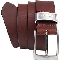 Pierre Cardin - Cinturón de hombre de auténtica piel de búfalo de 4mm, para pantalón vaquero, talla XXL, negro/marrón