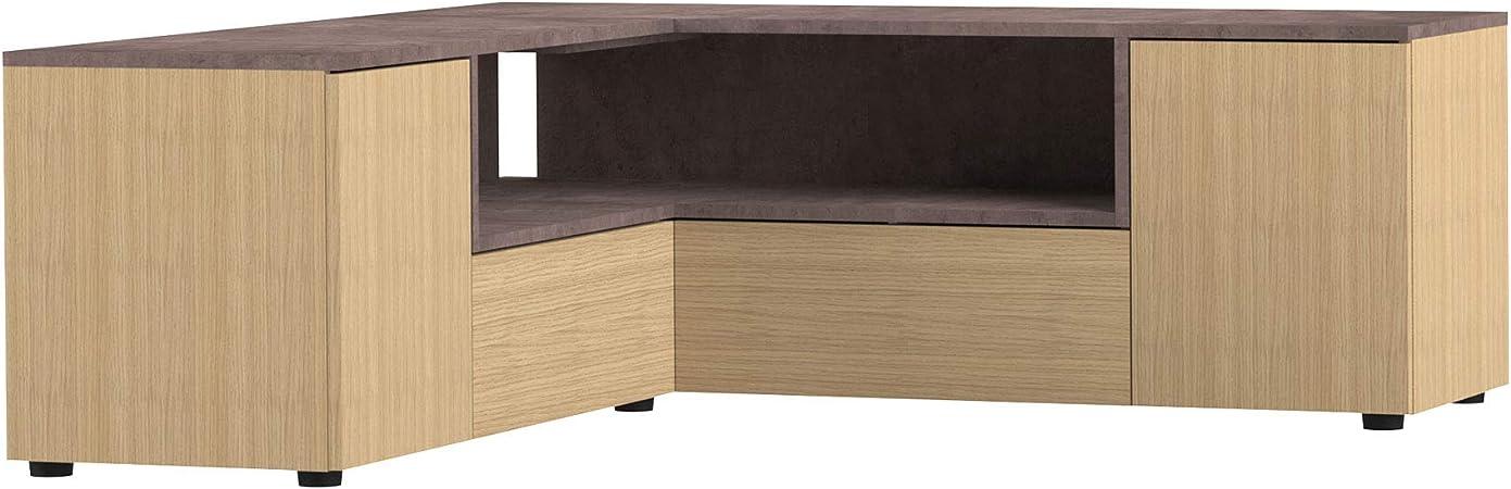maisonetstyles meuble tv d angle 130x130x46 cm chene et beton squar