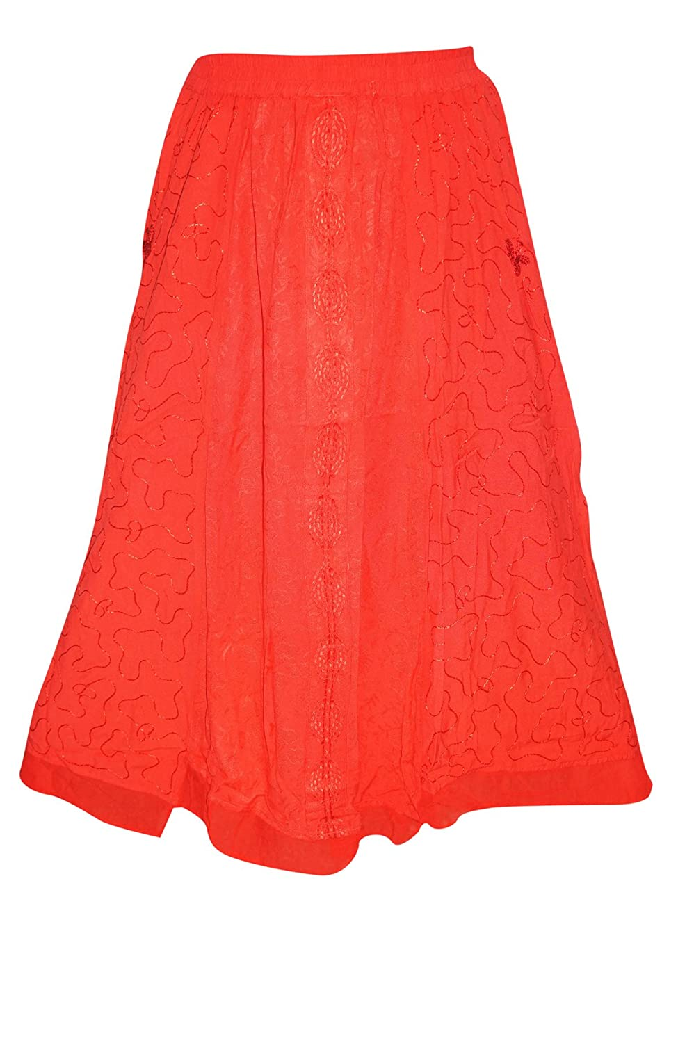 Mogul Interior Boho Long Skirt Hot Red Embroidered Bohemian Gypsy For Women M