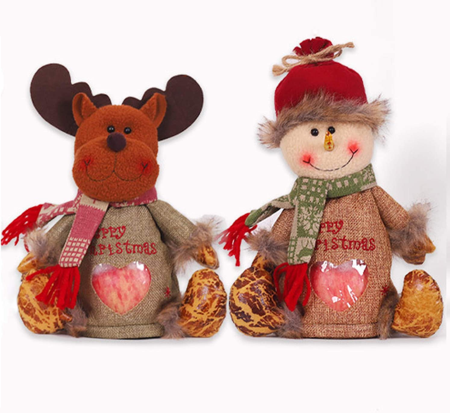 2PCS Christmas Candy Bags Claus Snowman Elk Candy Apple Bag Gift and Cute Cartoon Portable Candy Gift Baskets Gift Wrap for Wedding