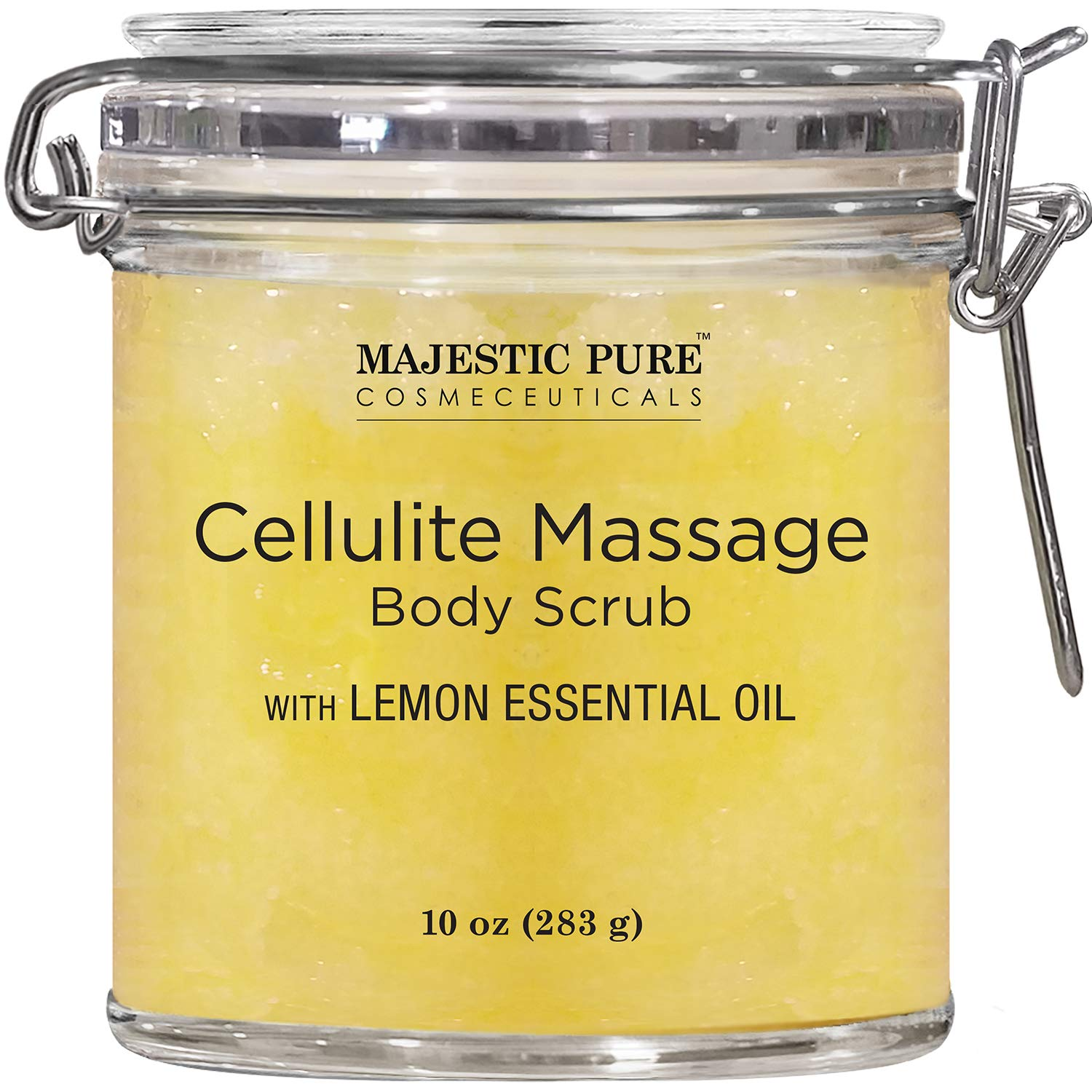 MAJESTIC PURE Cellulite Massage Body Scrub Infused with Lemon and Grapefruit Essential Oils - Exfoliates, Soothes, Relaxes, and Tightens Skin - 10 oz by Majestic Pure