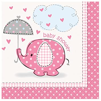 Attractive Pink Elephant Girl Baby Shower Cocktail Napkins, 16ct
