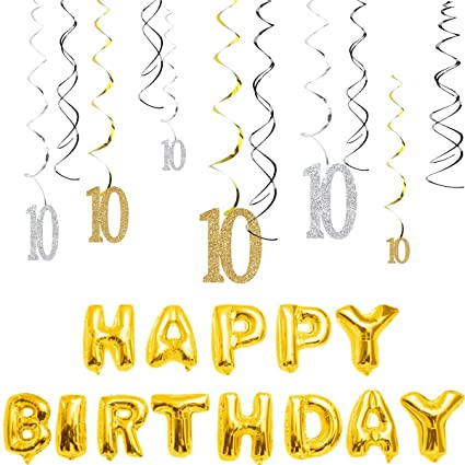 Amazon MAGJUCHE 10th Birthday Decorations Kit Gold Silver Glitter Happy 10 Years Old Banner Sparkling Celebration Hanging Swirls