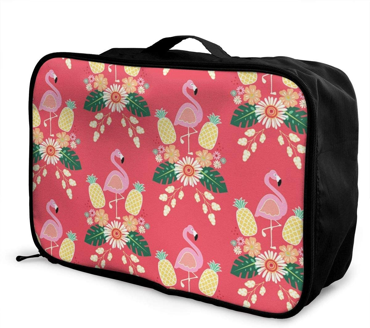 Pink-plaid-pattern Travel Carry-on Luggage Weekender Bag Overnight Tote Flight Duffel In Trolley Handle