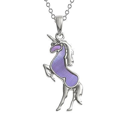 Kiara Jewellery Unicorn Pendant Necklace Inlaid With Purple Mother of Pearl on 18