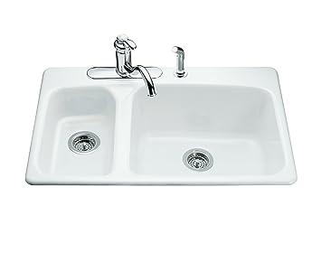 Marvelous KOHLER K 5924 4 0 Lakefield Self Rimming Kitchen Sink, White
