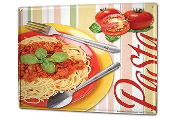 Cartel Letrero de Chapa XXL Trotamundos Salsa de los fideos de pasta de tomate: Amazon.es: Coche y moto