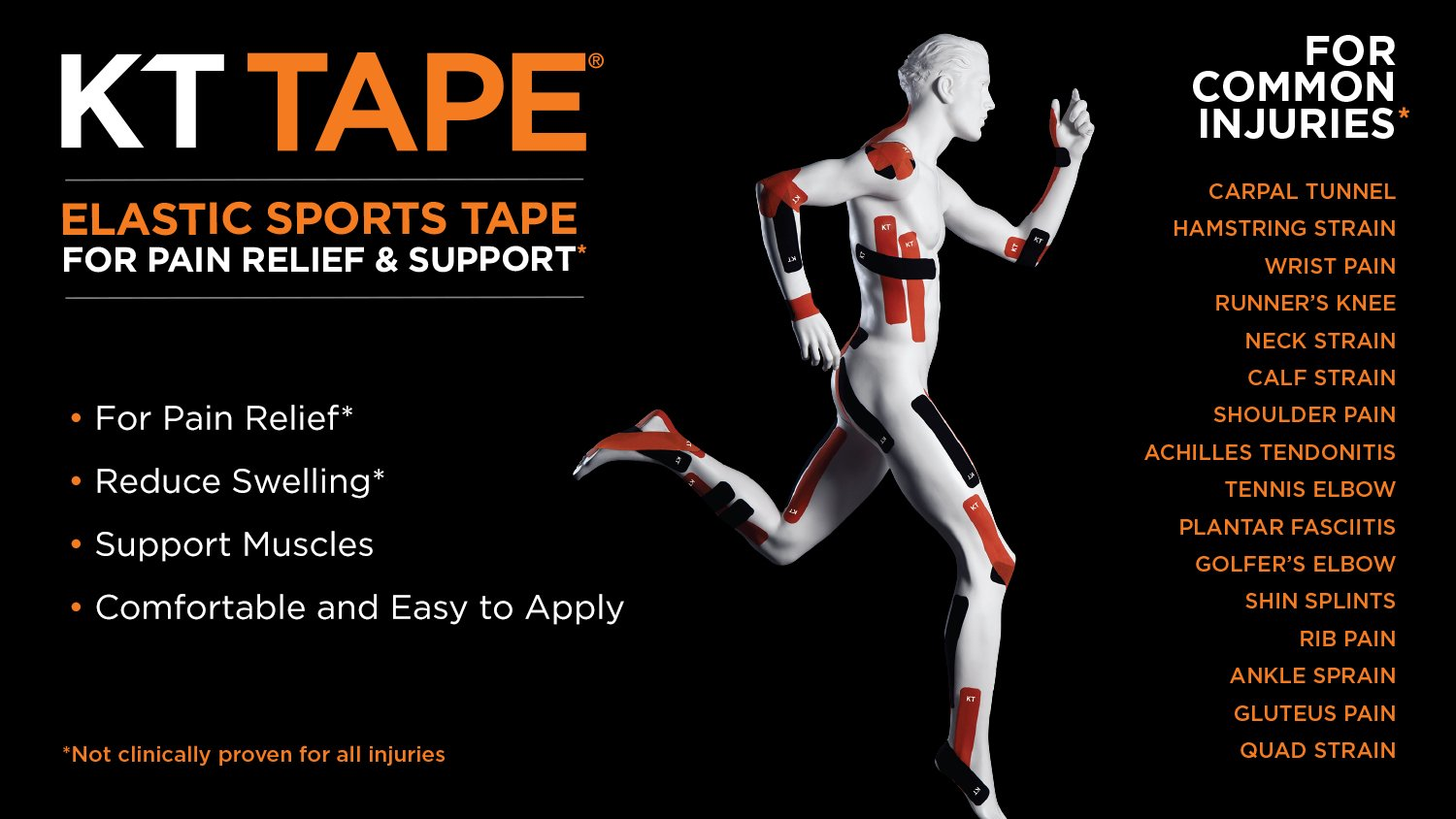 KT Tape PRO Synthetic Kinesiology Sports Tape, Water Resistant and Breathable, 20 Precut 10 Inch Strips, Team USA Olympic Edition, Black (Packaging May Vary) by KT Tape (Image #7)
