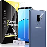HATOSHI 3 Pack Screen Protector + 3 Pack Camera Lens Protector for Samsung Galaxy S9 Plus, S9+ Flexible TPU Film 6.2-inch, Al