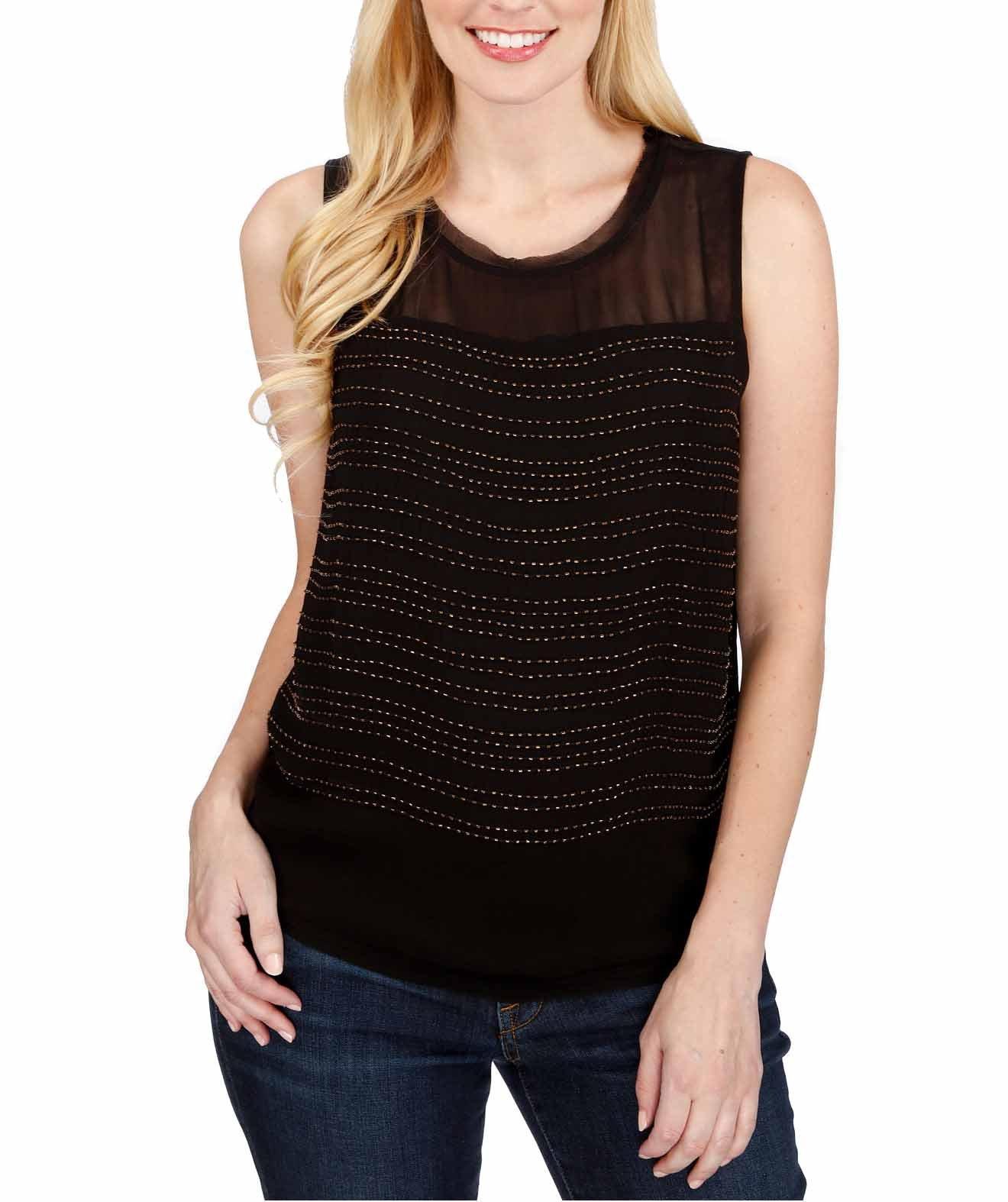 Lucky Brand Women's Beaded Sleeveless Studded Top (Black, XS)