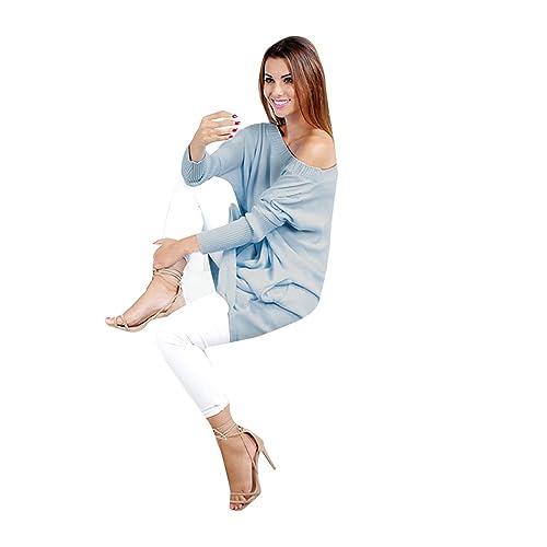 Hey! Chica Atractivo, Mujer Moda Suéter Largo Casual Jersey Prendas de Punto de Cuello Barco Batwing...